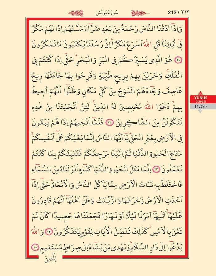 Yunus Suresi - 210.Sayfa - 11. Cüzün 2. Hizbi