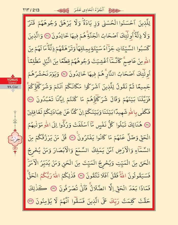Yunus Suresi - 211.Sayfa - 11. Cüzün 3. Hizbi