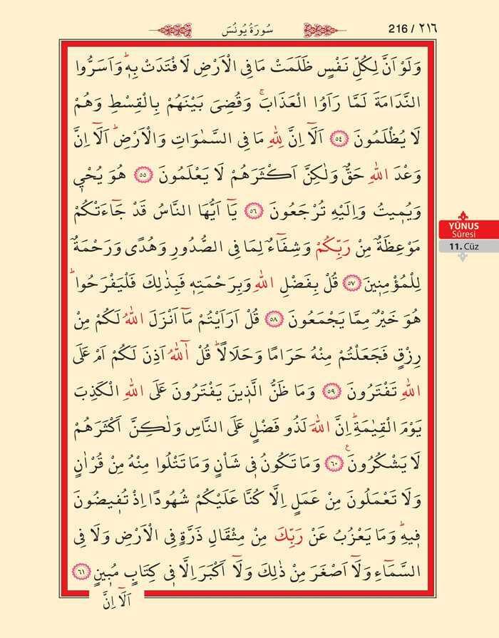 Yunus Suresi - 214.Sayfa - 11. Cüzün 3. Hizbi