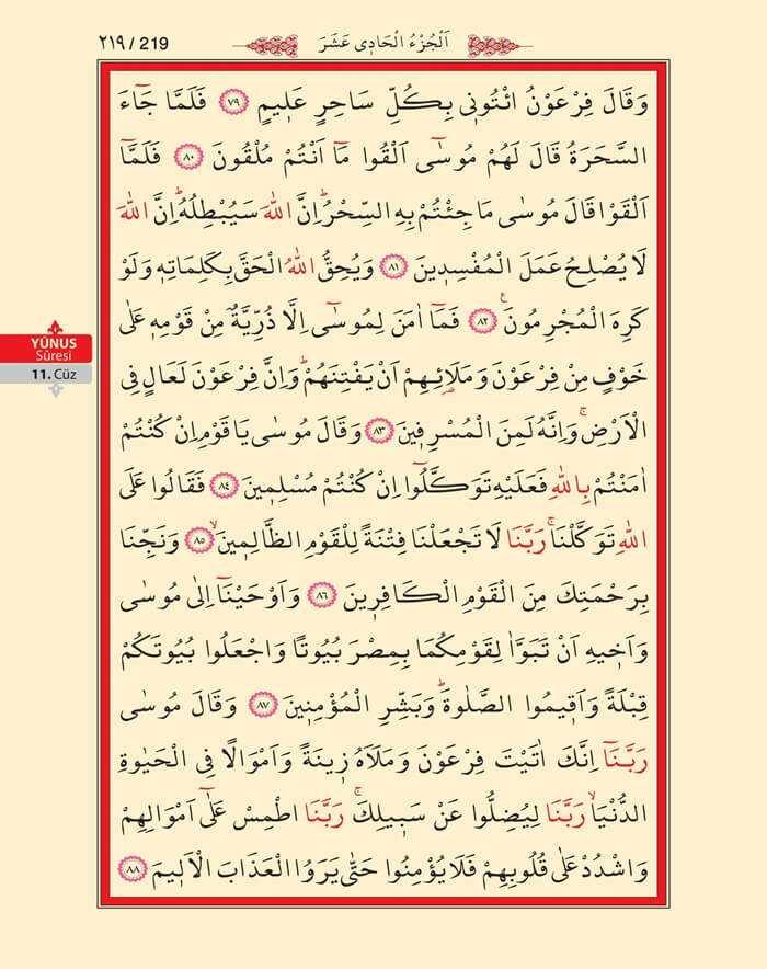 Yunus Suresi - 217.Sayfa - 11. Cüzün 4. Hizbi