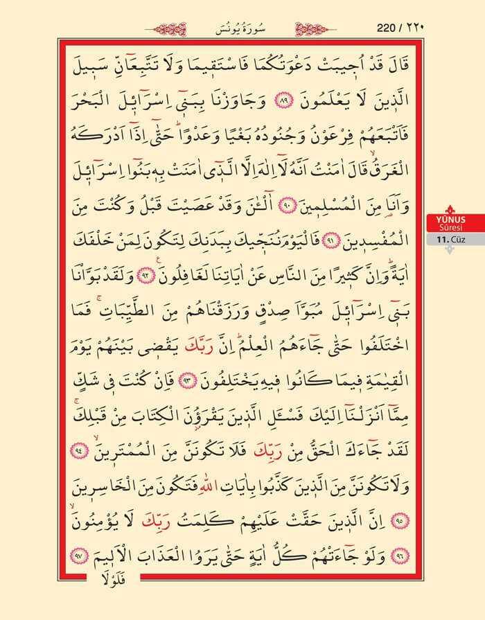 Yunus Suresi - 218.Sayfa - 11. Cüzün 4. Hizbi