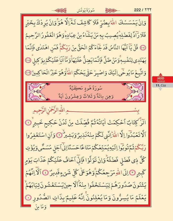 Yunus,Hud Suresi - 220.Sayfa - 11. Cüzün 4. Hizbi