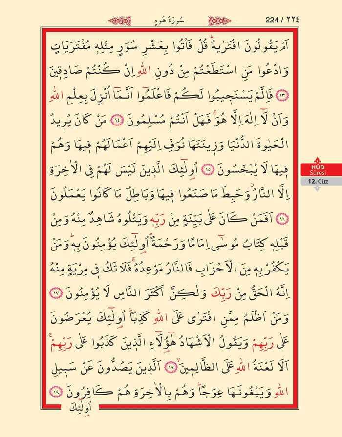 Hud Suresi - 222.Sayfa - 12. Cüzün 1. Hizbi