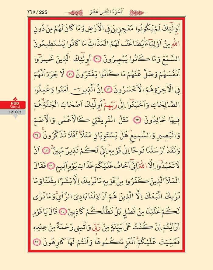 Hud Suresi - 223.Sayfa - 12. Cüzün 1. Hizbi