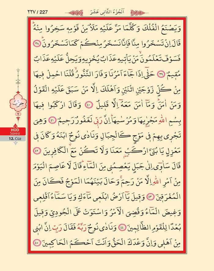 Hud Suresi - 225.Sayfa - 12. Cüzün 2. Hizbi