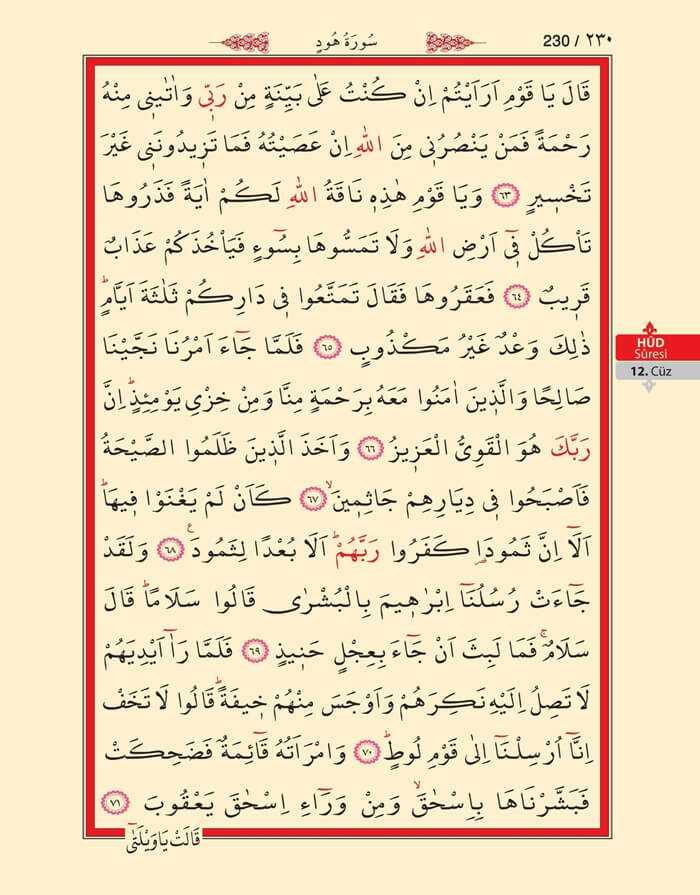 Hud Suresi - 228.Sayfa - 12. Cüzün 2. Hizbi