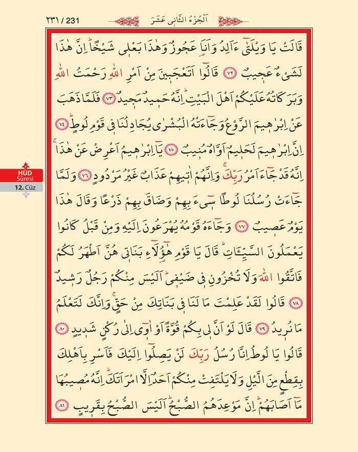 Hud Suresi - 229.Sayfa - 12. Cüzün 2. Hizbi