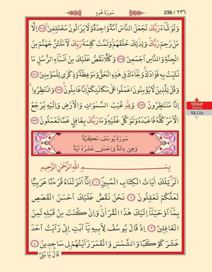 Hud,Yusuf Suresi - 234.Sayfa - 12. Cüzün 3. Hizbi