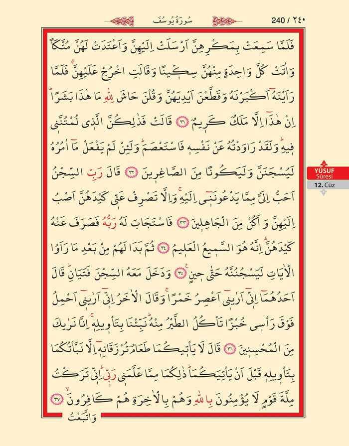 Yusuf Suresi - 238.Sayfa - 12. Cüzün 4. Hizbi