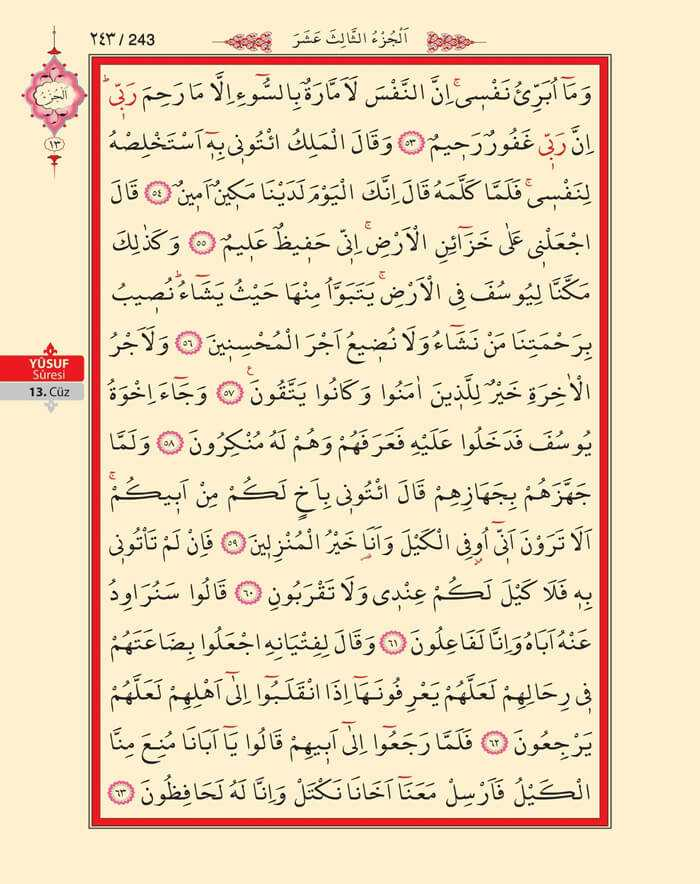 Yusuf Suresi - 241.Sayfa - 13. Cüzün 1. Hizbi