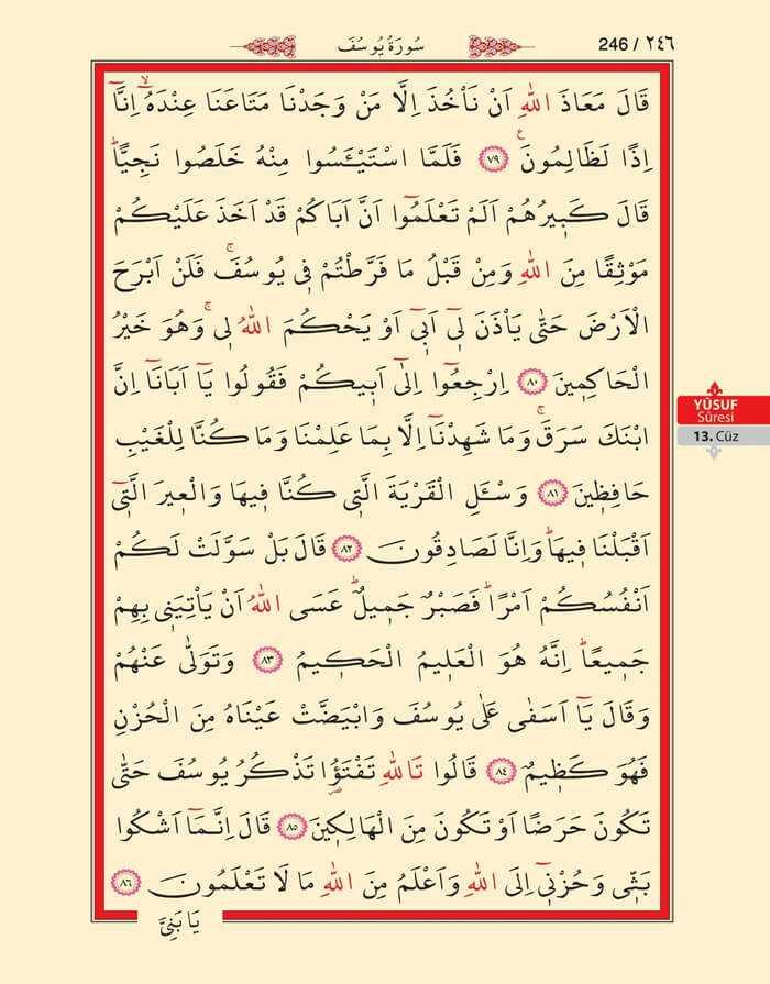 Yusuf Suresi - 244.Sayfa - 13. Cüzün 1. Hizbi