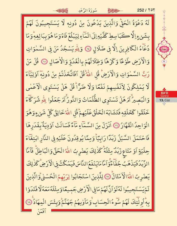 Ra'd Suresi - 250.Sayfa - 13. Cüzün 3. Hizbi