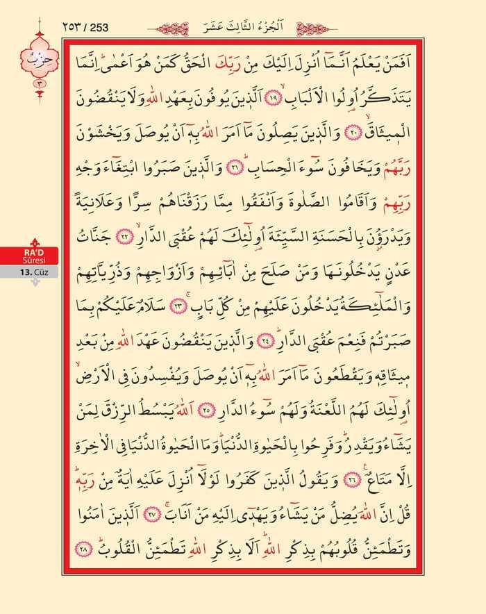 Ra'd Suresi - 251.Sayfa - 13. Cüzün 3. Hizbi