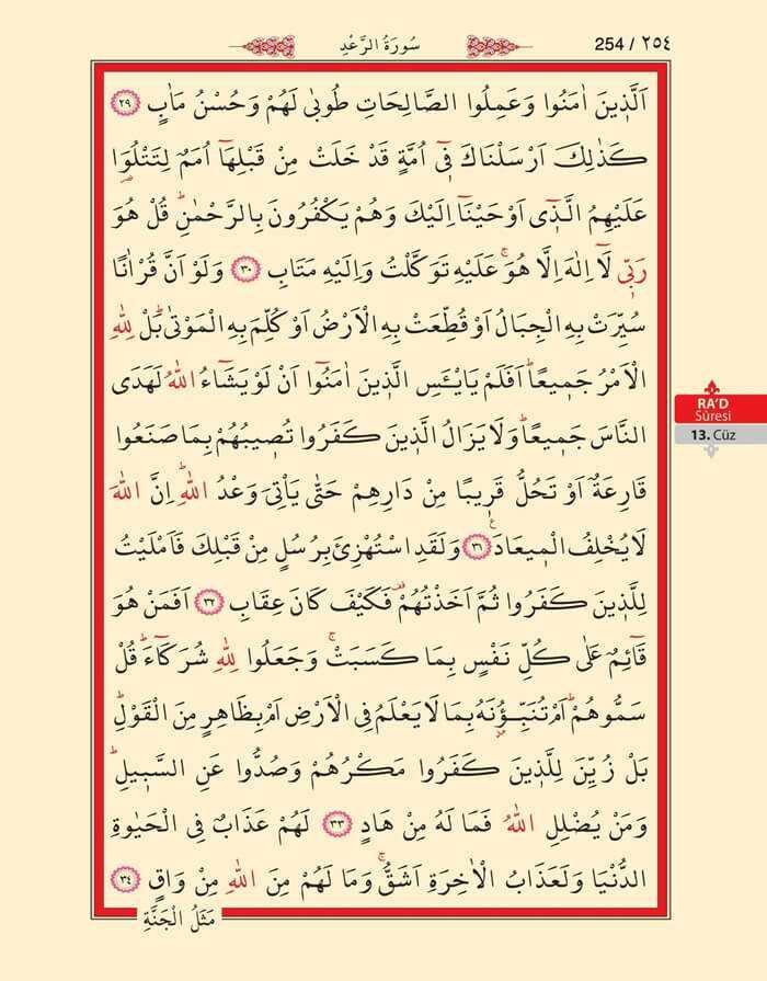 Ra'd Suresi - 252.Sayfa - 13. Cüzün 3. Hizbi