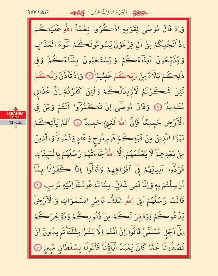 İbrahim Suresi - 255.Sayfa - 13. Cüzün 3. Hizbi