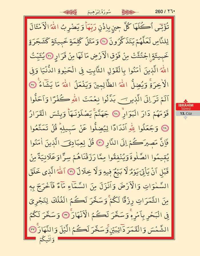 İbrahim Suresi - 258.Sayfa - 13. Cüzün 4. Hizbi