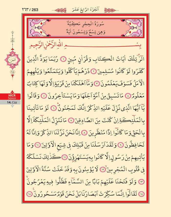 Hicr Suresi - 261.Sayfa - 14. Cüzün 1. Hizbi