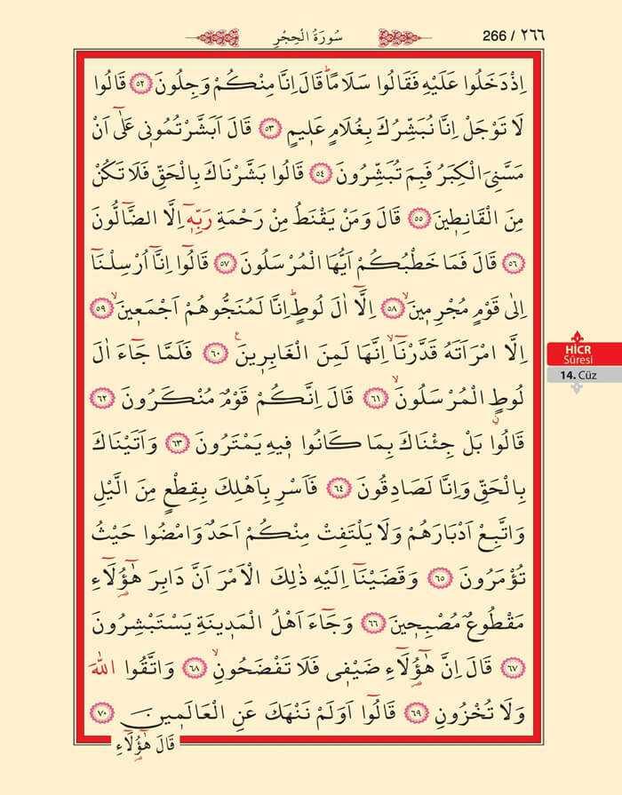 Hicr Suresi - 264.Sayfa - 14. Cüzün 1. Hizbi