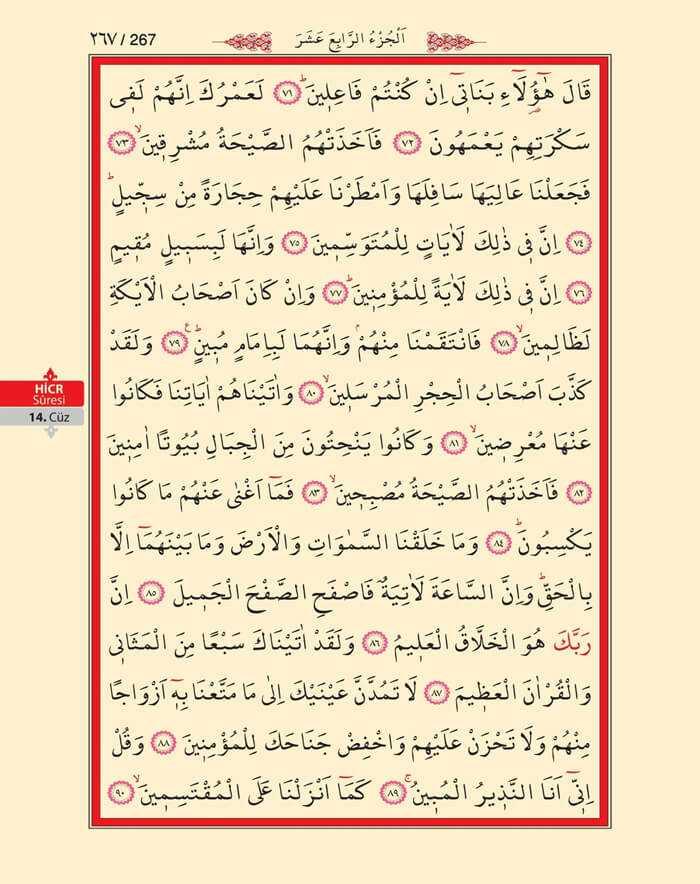 Hicr Suresi - 265.Sayfa - 14. Cüzün 1. Hizbi