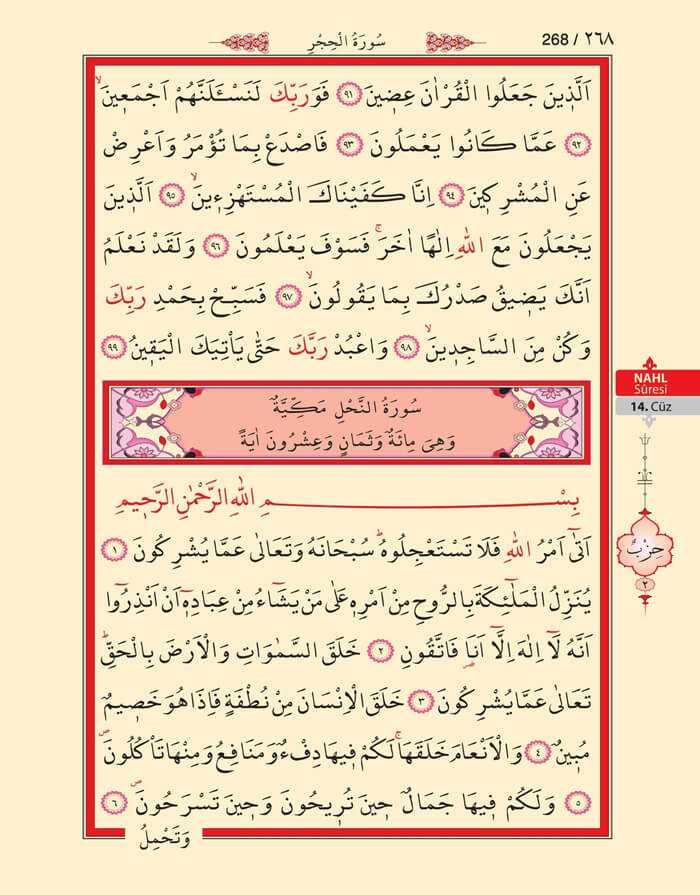 Hicr,Nahl Suresi - 266.Sayfa - 14. Cüzün 2. Hizbi