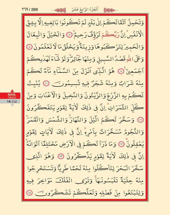 Nahl Suresi - 267.Sayfa - 14. Cüzün 2. Hizbi