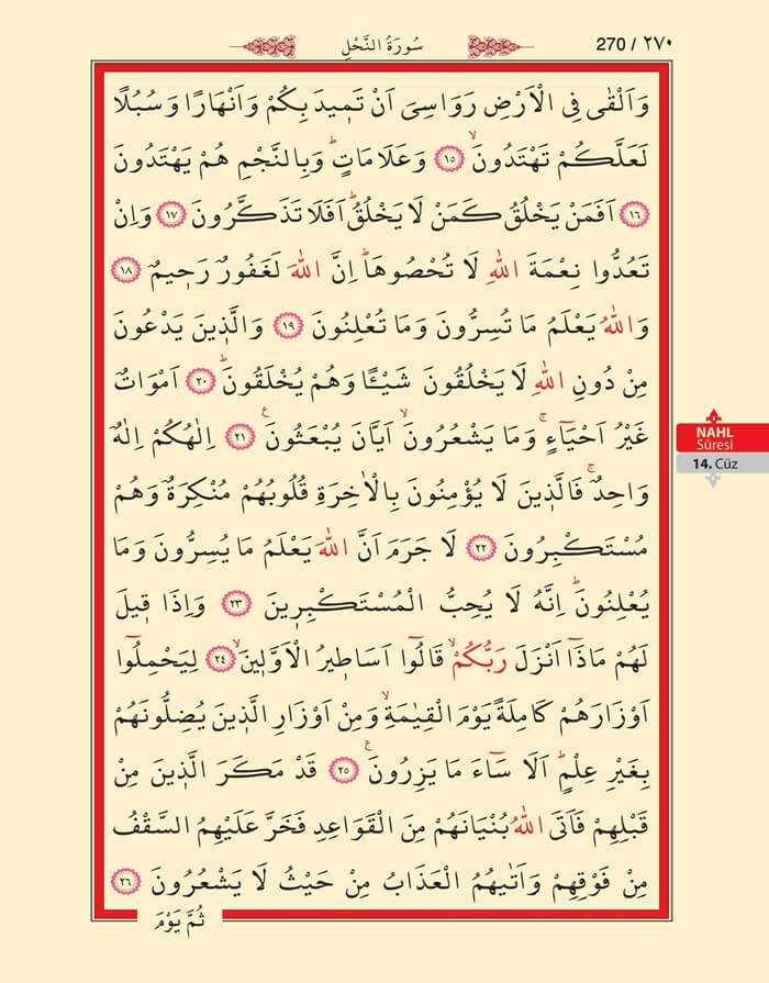 Nahl Suresi - 268.Sayfa - 14. Cüzün 2. Hizbi