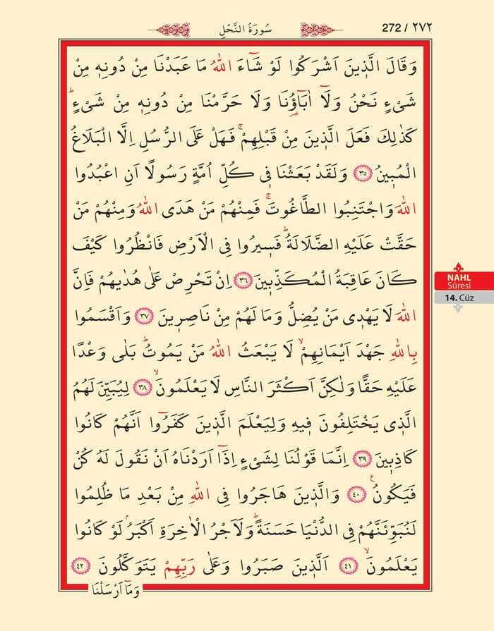 Nahl Suresi - 270.Sayfa - 14. Cüzün 2. Hizbi
