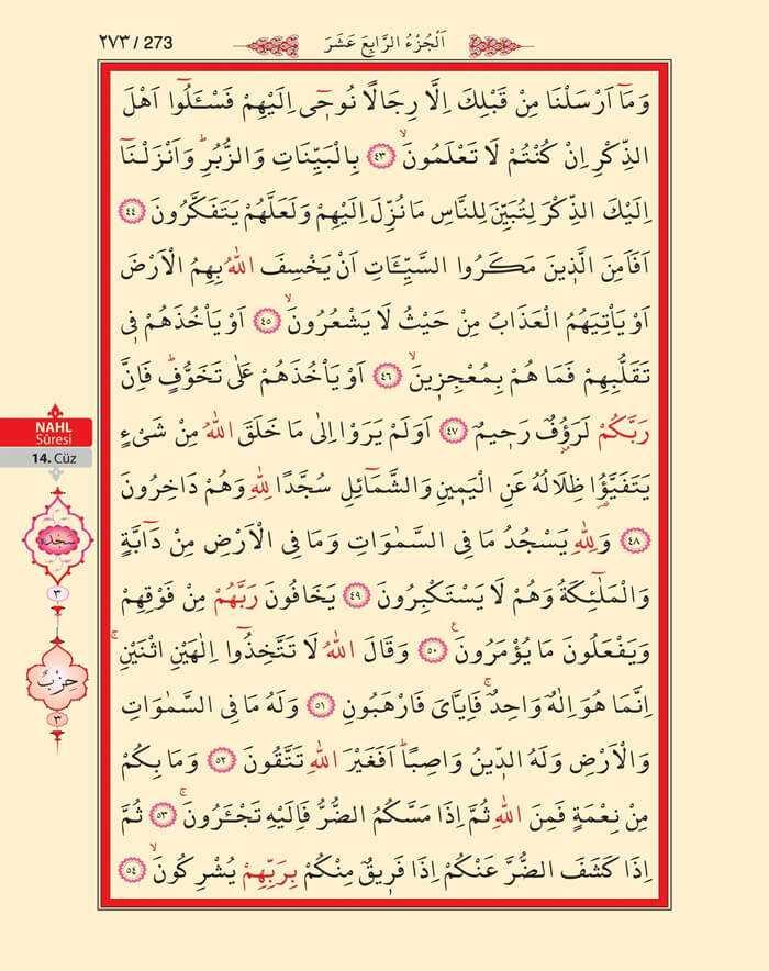 Nahl Suresi - 271.Sayfa - 14. Cüzün 3. Hizbi