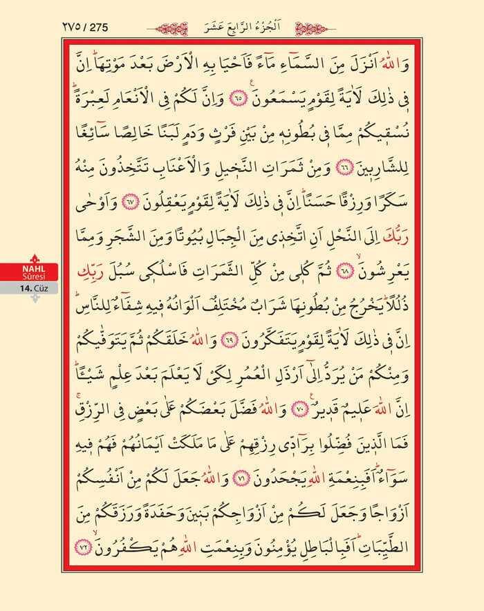 Nahl Suresi - 273.Sayfa - 14. Cüzün 3. Hizbi