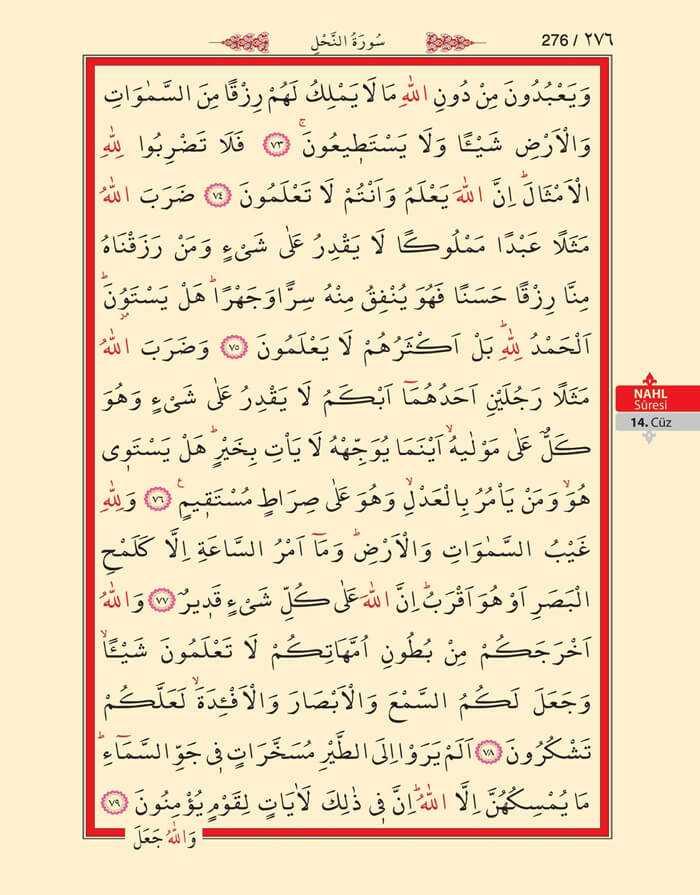 Nahl Suresi - 274.Sayfa - 14. Cüzün 3. Hizbi