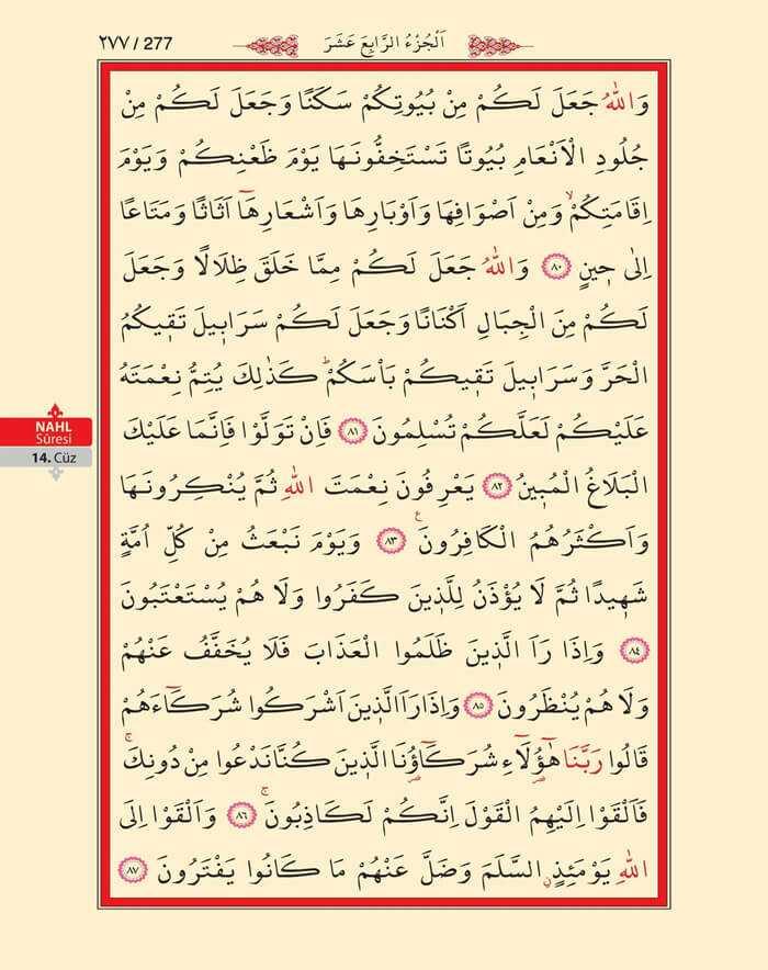 Nahl Suresi - 275.Sayfa - 14. Cüzün 3. Hizbi