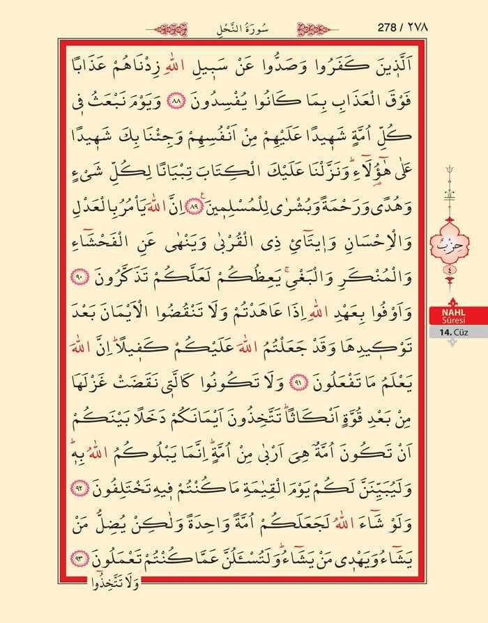 Nahl Suresi - 276.Sayfa - 14. Cüzün 4. Hizbi