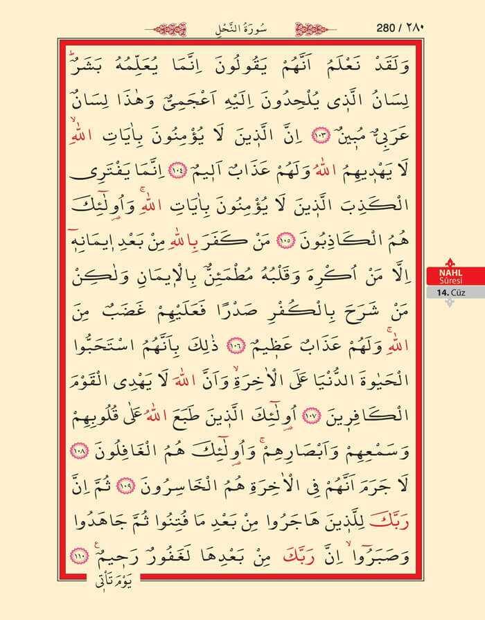 Nahl Suresi - 278.Sayfa - 14. Cüzün 4. Hizbi