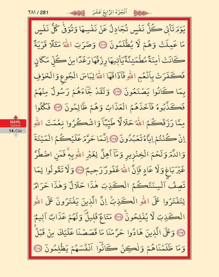 Nahl Suresi - 279.Sayfa - 14. Cüzün 4. Hizbi