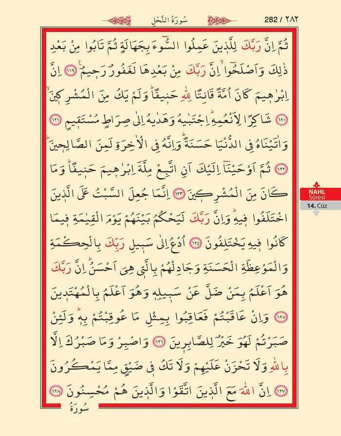 Nahl Suresi - 280.Sayfa - 14. Cüzün 4. Hizbi