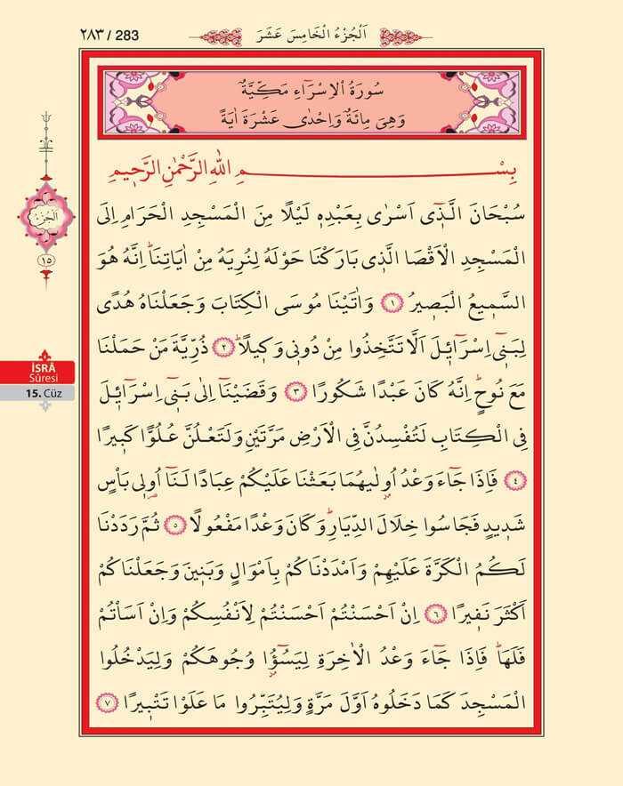 İsra Suresi - 281.Sayfa - 15. Cüzün 1. Hizbi