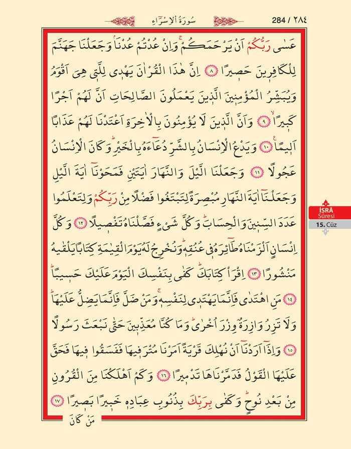 İsra Suresi - 282.Sayfa - 15. Cüzün 1. Hizbi