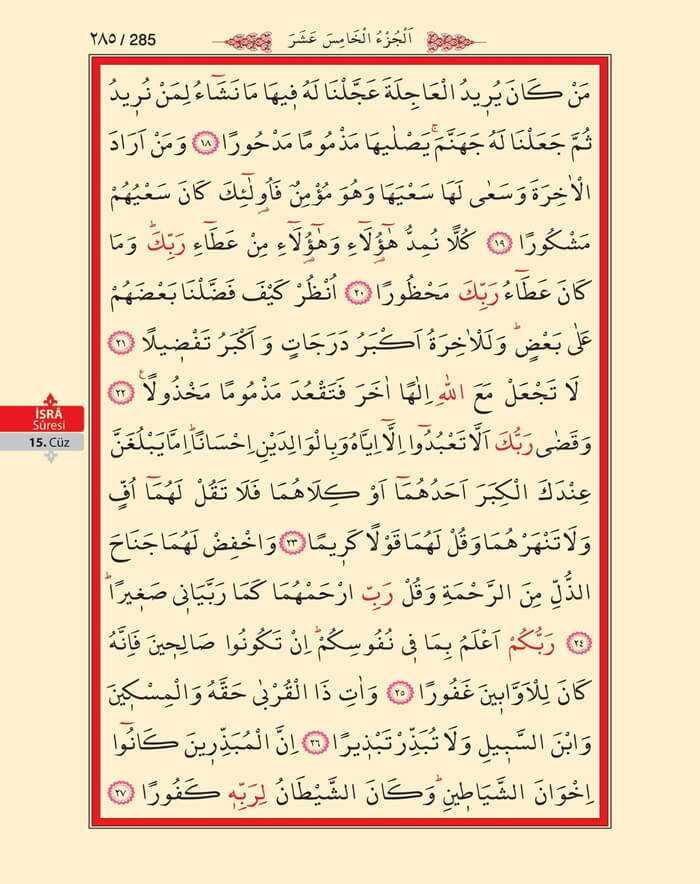 İsra Suresi - 283.Sayfa - 15. Cüzün 1. Hizbi