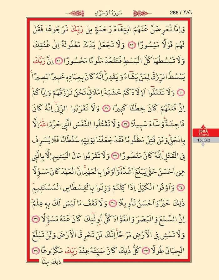 İsra Suresi - 284.Sayfa - 15. Cüzün 1. Hizbi