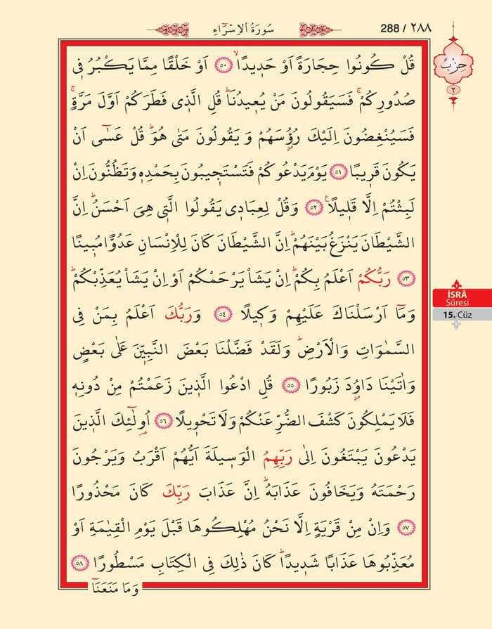 İsra Suresi - 286.Sayfa - 15. Cüzün 2. Hizbi