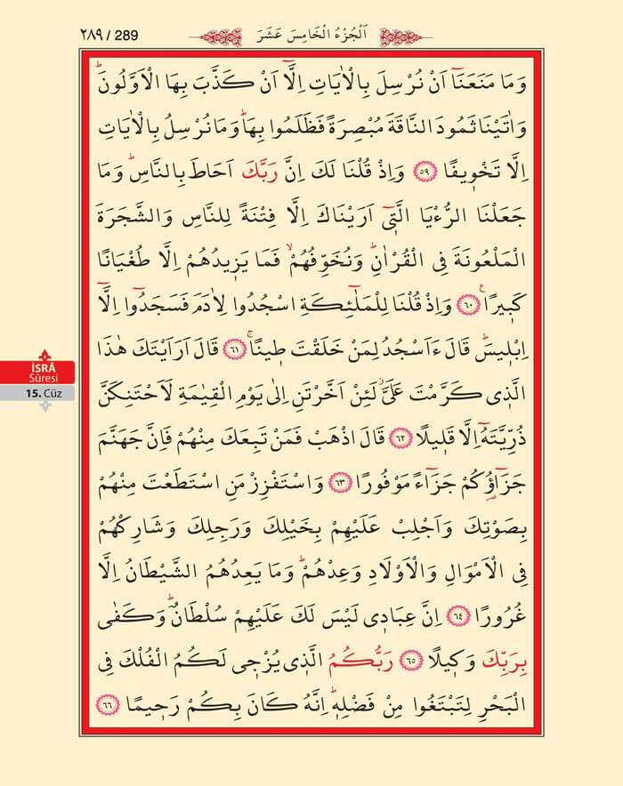 İsra Suresi - 287.Sayfa - 15. Cüzün 2. Hizbi