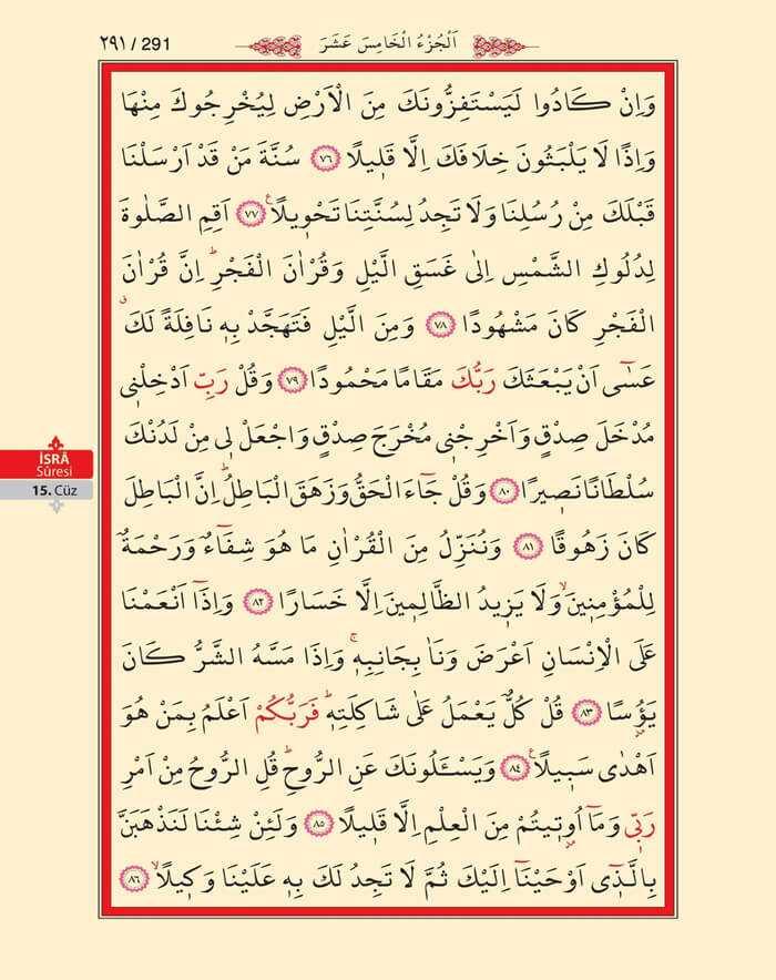 İsra Suresi - 289.Sayfa - 15. Cüzün 2. Hizbi