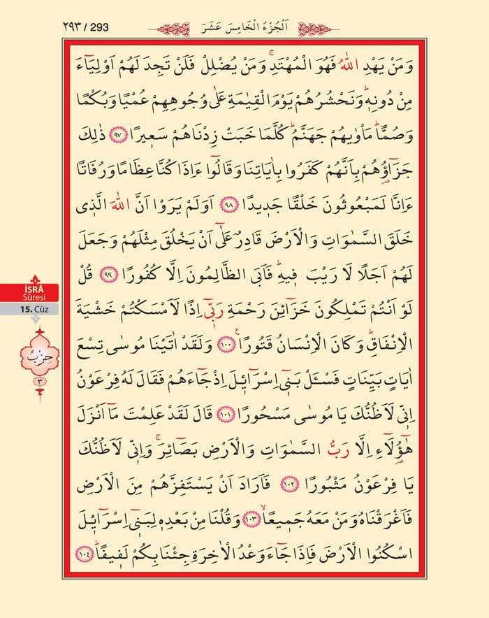 İsra Suresi - 291.Sayfa - 15. Cüzün 3. Hizbi