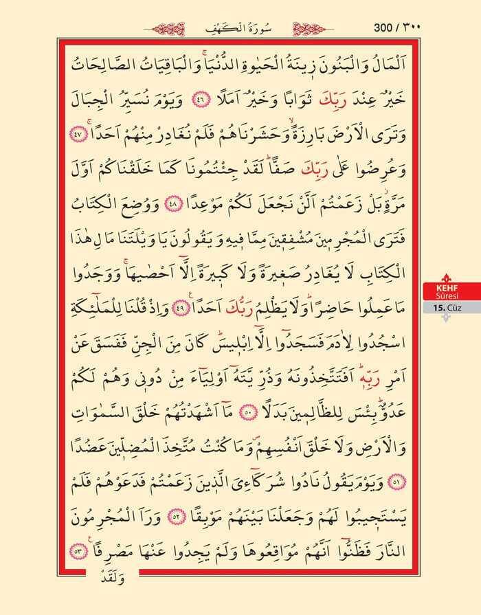 Kehf Suresi - 298.Sayfa - 15. Cüzün 4. Hizbi