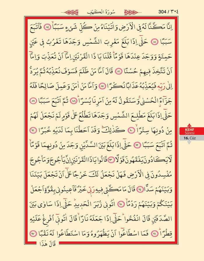 Kehf Suresi - 302.Sayfa - 16. Cüzün 1. Hizbi