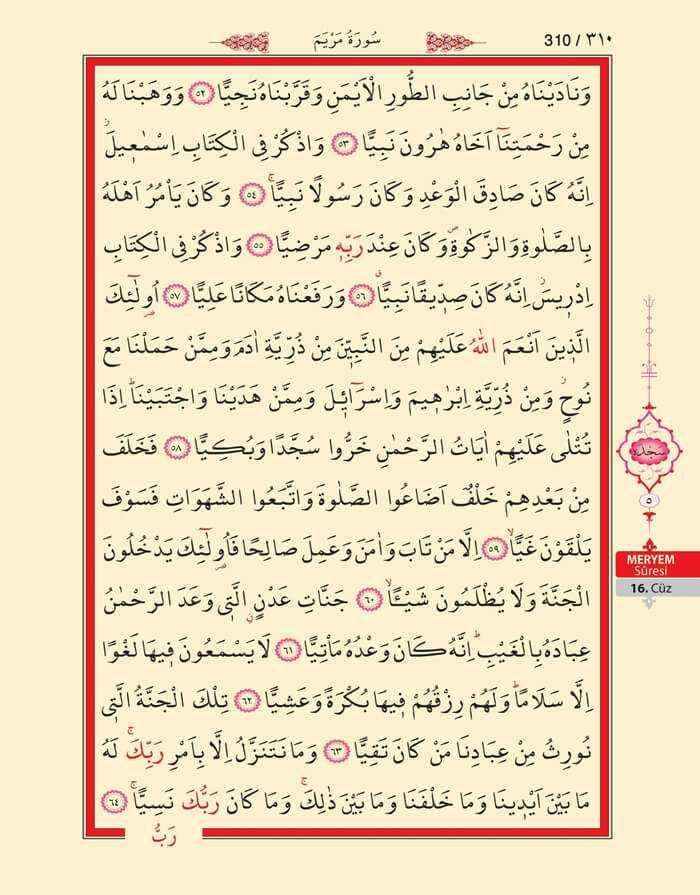 Meryem Suresi - 308.Sayfa - 16. Cüzün 2. Hizbi