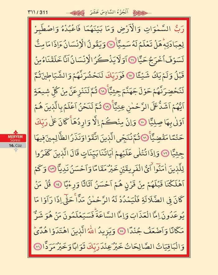Meryem Suresi - 309.Sayfa - 16. Cüzün 2. Hizbi