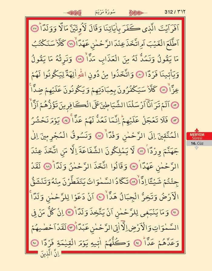 Meryem Suresi - 310.Sayfa - 16. Cüzün 2. Hizbi