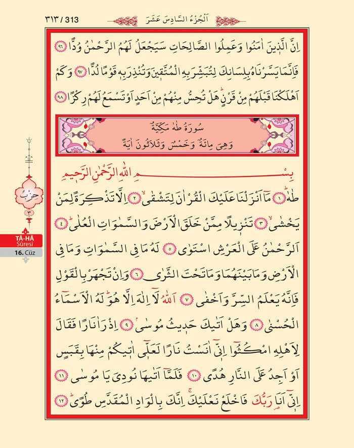 Meryem,Taha Suresi - 311.Sayfa - 16. Cüzün 3. Hizbi