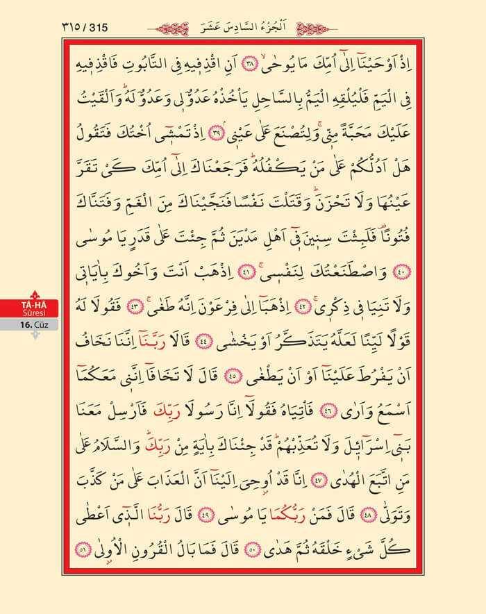 Taha Suresi - 313.Sayfa - 16. Cüzün 3. Hizbi